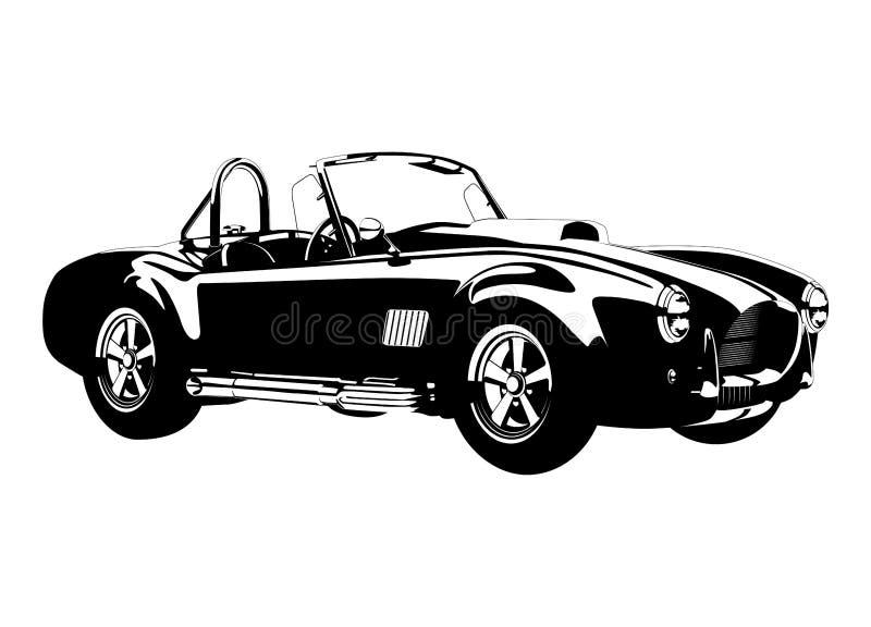 Ac van de silhouetñ lassic sportwagen  cobraopen tweepersoonsauto stock illustratie