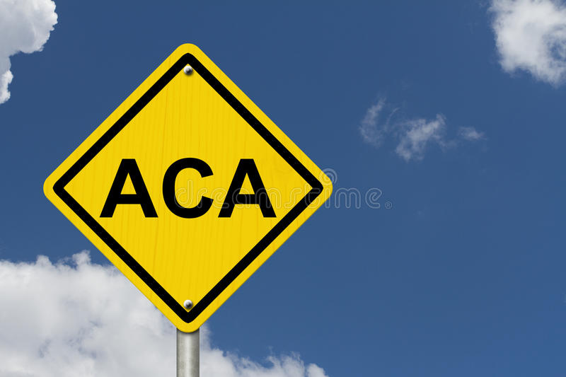 ACA Warning Sign. For Affordable Care Act, An American road warning sign with word ACA with a blue sky background royalty free stock photography