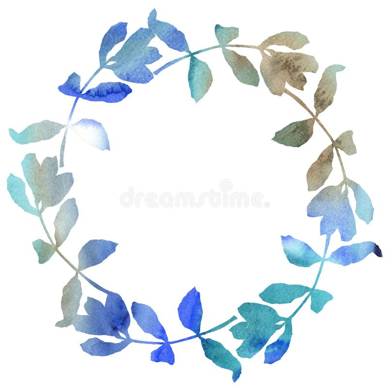 Acacia leaves wreath in a watercolor style. royalty free illustration