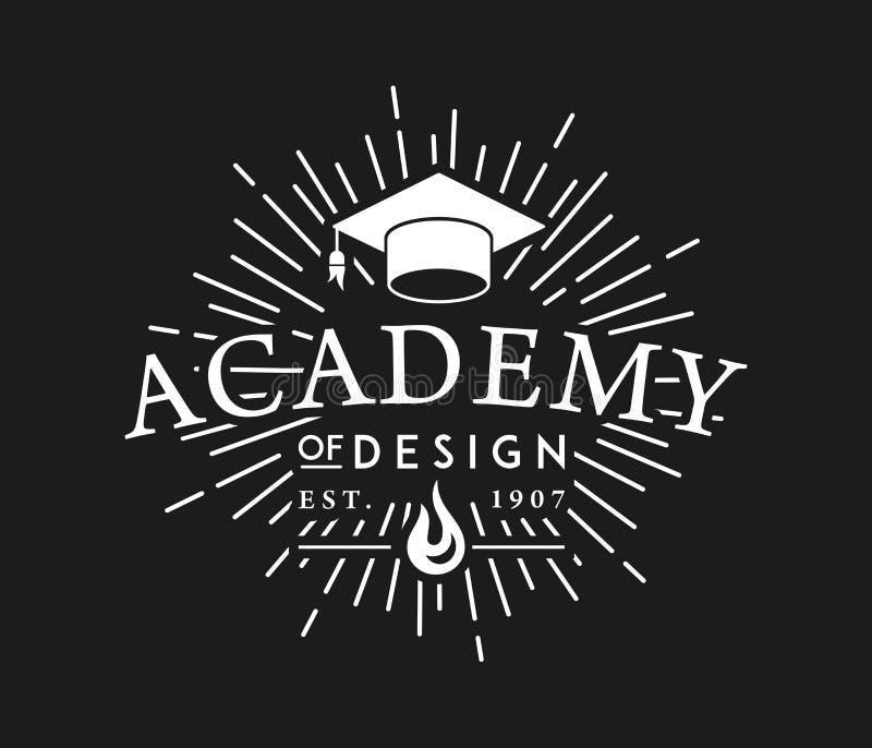Académie de blanc de conception sur le noir illustration stock
