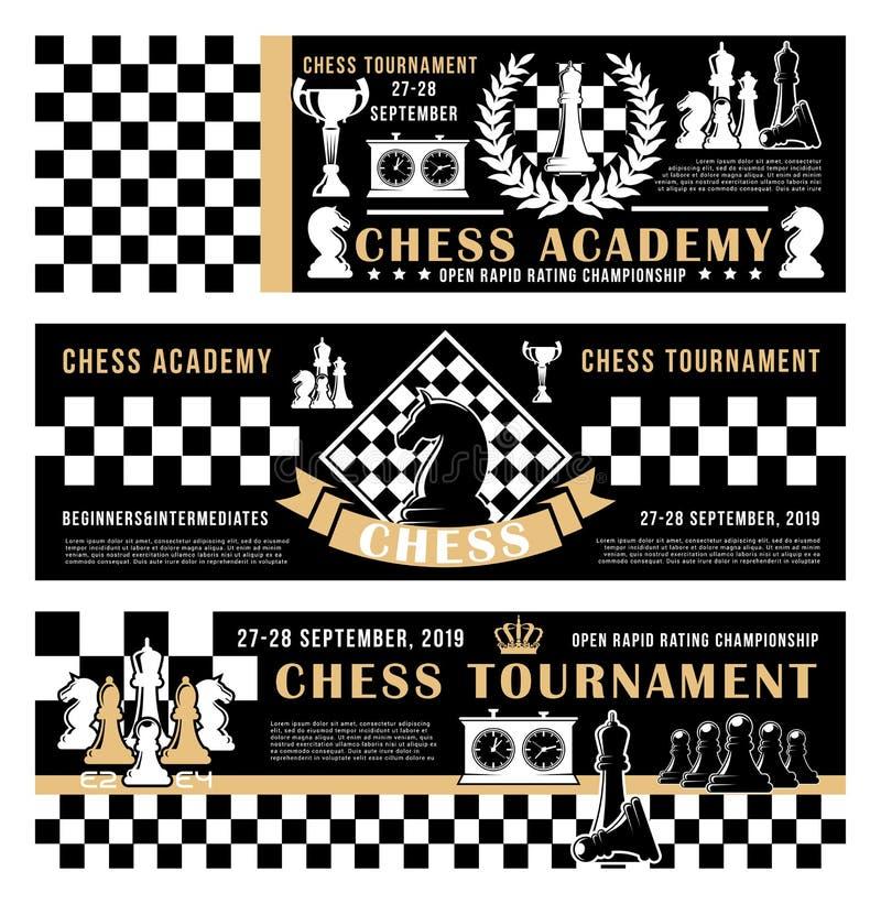 Académie de jeu d'échecs, affiche ouverte de vecteur de tournoi illustration stock