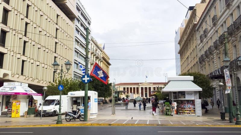 Academia de Atenas e dos arredores fotos de stock