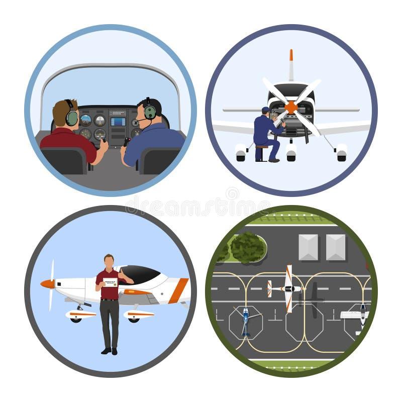 Academia do treino de voo Reparo e manutenção dos aviões Um voo plano sobre um aeródromo ilustração do vetor