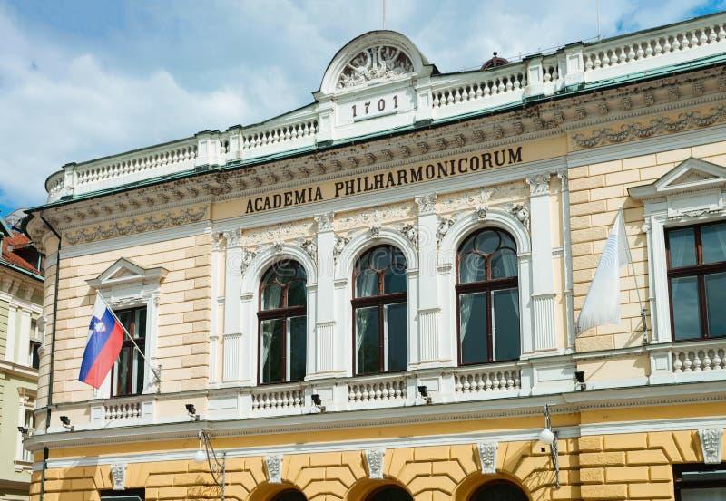 Academia filarmônica no Eslovênia de Ljubljana foto de stock