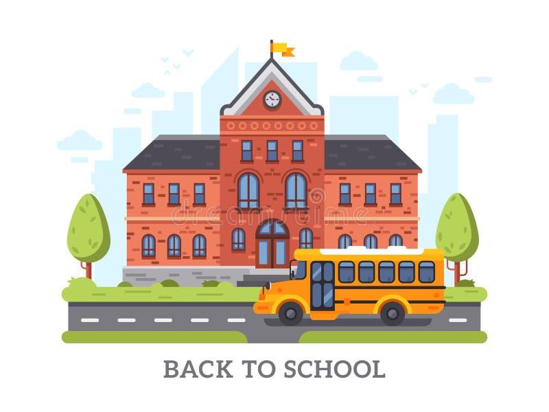 Academia, universidad, edificio de la educación de la universidad De nuevo al ejemplo del vector de la High School secundaria stock de ilustración