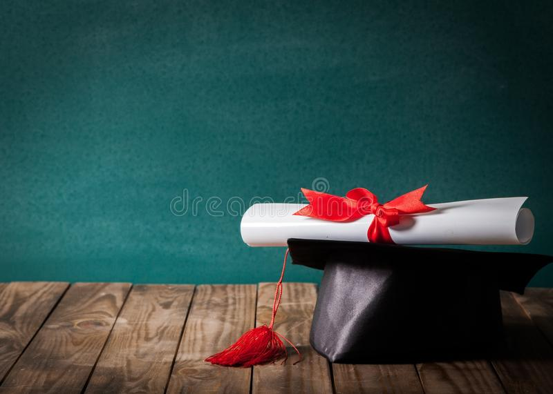 Academic. Award become blackboard cap certification chalkboard royalty free stock photos