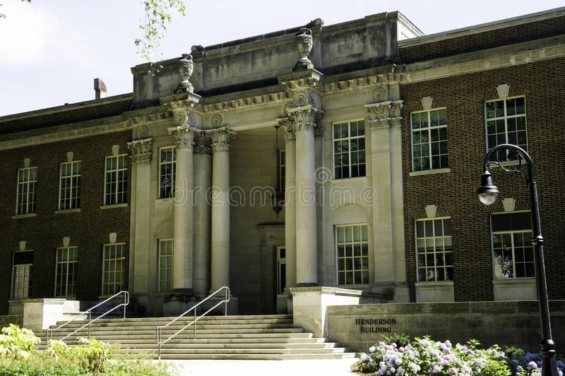 Academic buildings in Penn State in the Summer. With Blue Sky and Landscaping royalty free stock photo