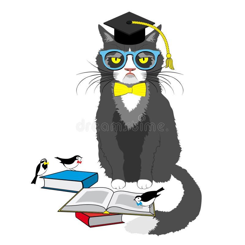 Academic cat reading books. Vector illustration isolated on white royalty free illustration