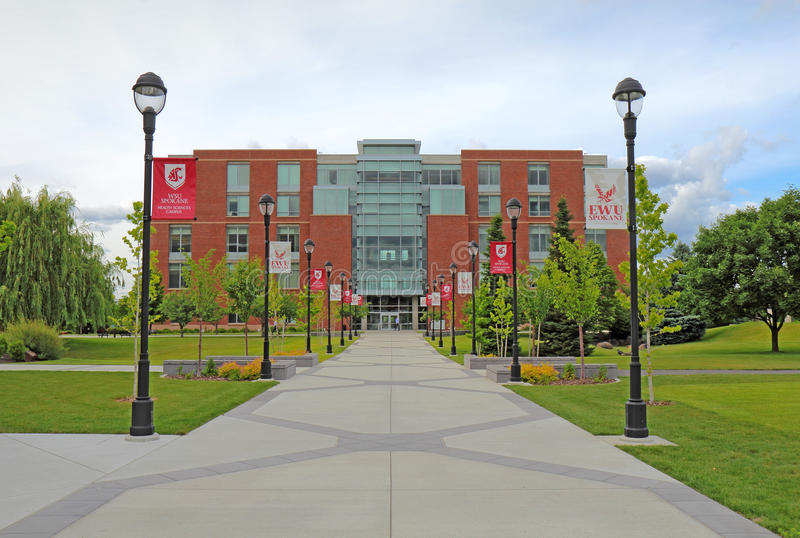 Academic Center building on the campus of Washington State University Health Sciences Spokane. The Academic Center building on the urban campus of Washington royalty free stock photo