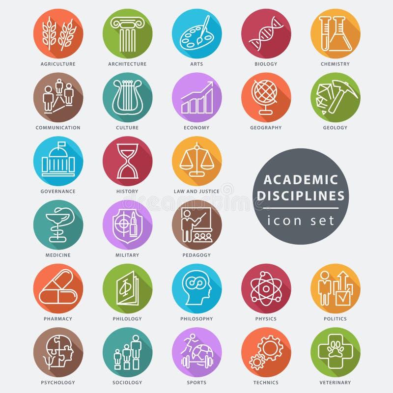 Academic disciplines icon. Set, vector illustration stock illustration