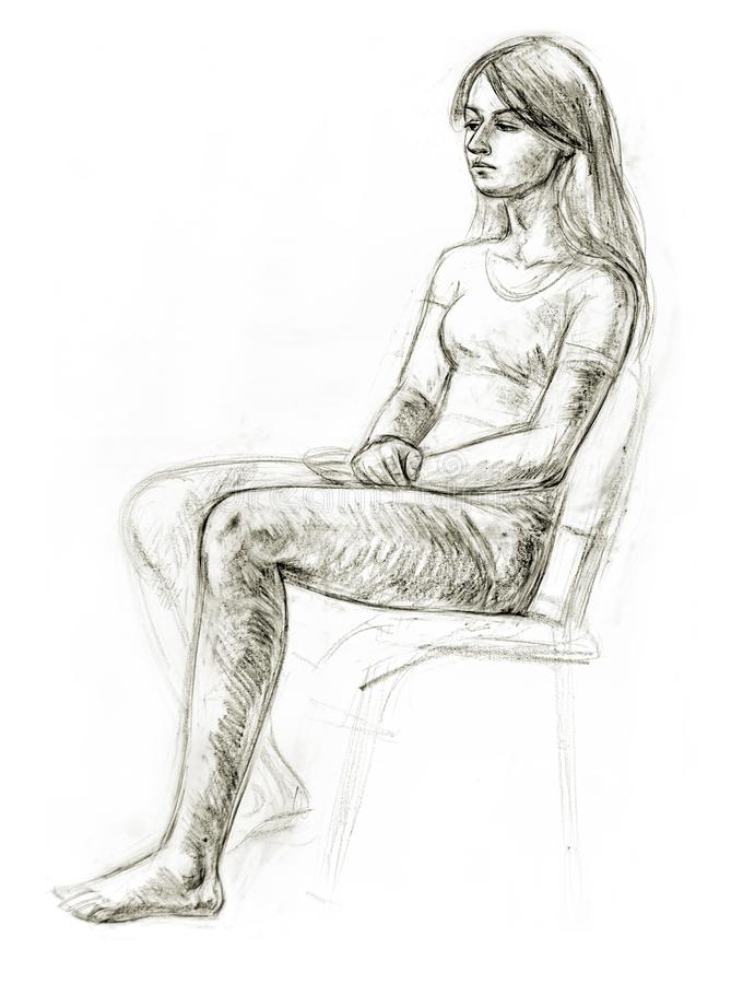 Academic figure drawing of a young girl. Hand-drawing in pencil stock illustration