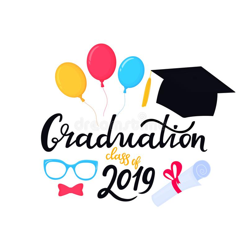 Academic mortarboard with Tassel. University Cap. Graduation class of 2019 hand drawn lettering with hat, balloons stock illustration