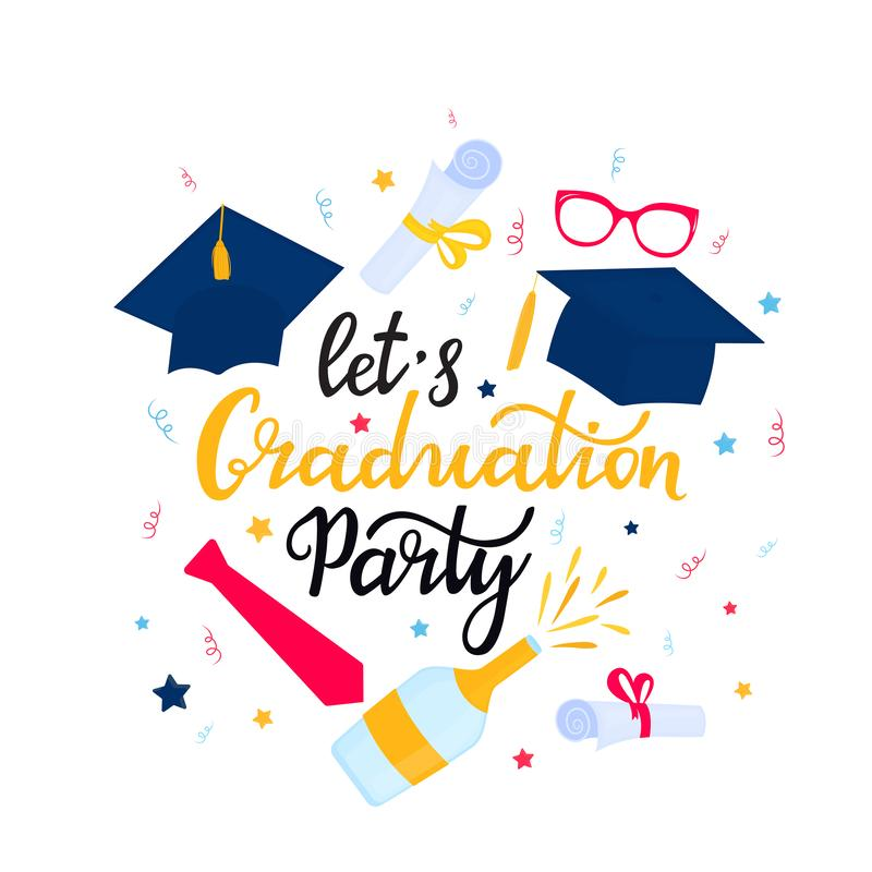 Academic mortarboard with Tassel. University Cap. Let`s Graduation Party hand drawn lettering with hat, necktie stock illustration