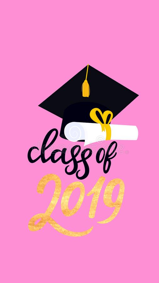 Academic mortarboard with Tassel. University Graduation Cap. Class of 2019 hand drawn lettering with scroll and graduate vector illustration