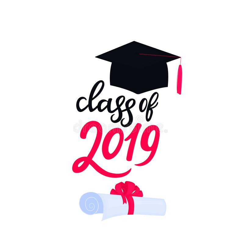 Academic mortarboard with Tassel. University Graduation Cap. Class of 2019 hand drawn lettering scroll tied with a stock illustration