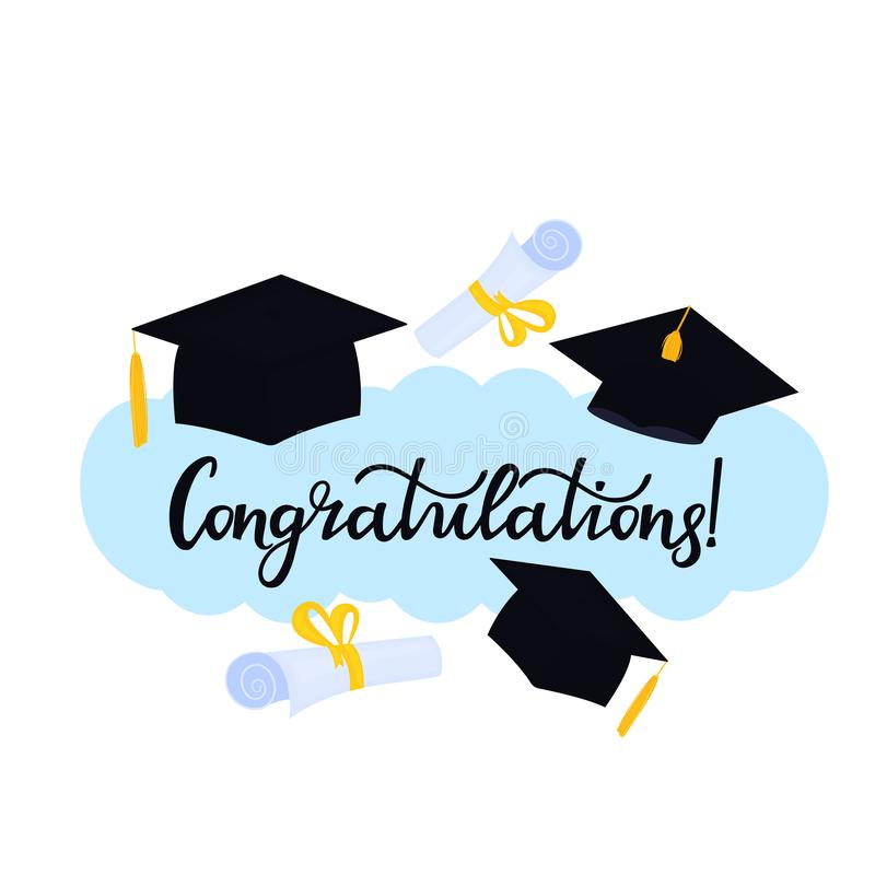 Academic mortarboard with Tassel. University Graduation Cap. Congratulations hand drawn lettering with hat and diploma stock illustration