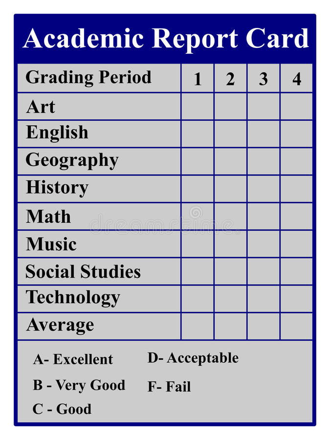 Academic Report Card royalty free illustration