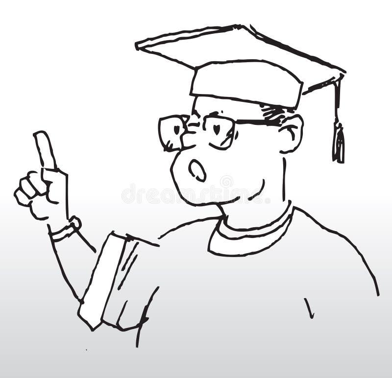 Academic speech. Hand drawn illustration of a graduate student making his academic speech stock illustration