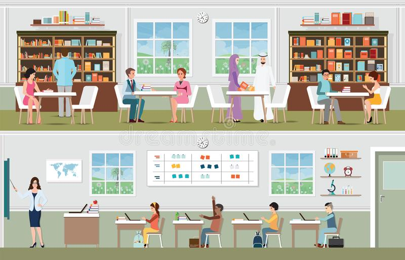 Academic students at the library and teacher with pupils in the. Classroom, school and education conceptual vector illustration vector illustration