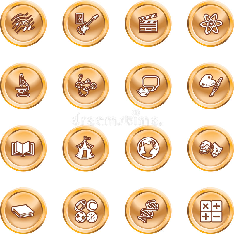 Academic Study Subject Icons Royalty Free Stock Photography