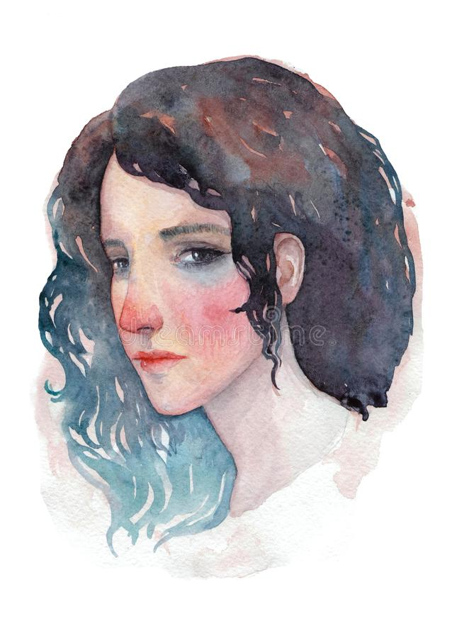 academical flicka för konstförfattareteckning mig ståendevattenfärg stock illustrationer