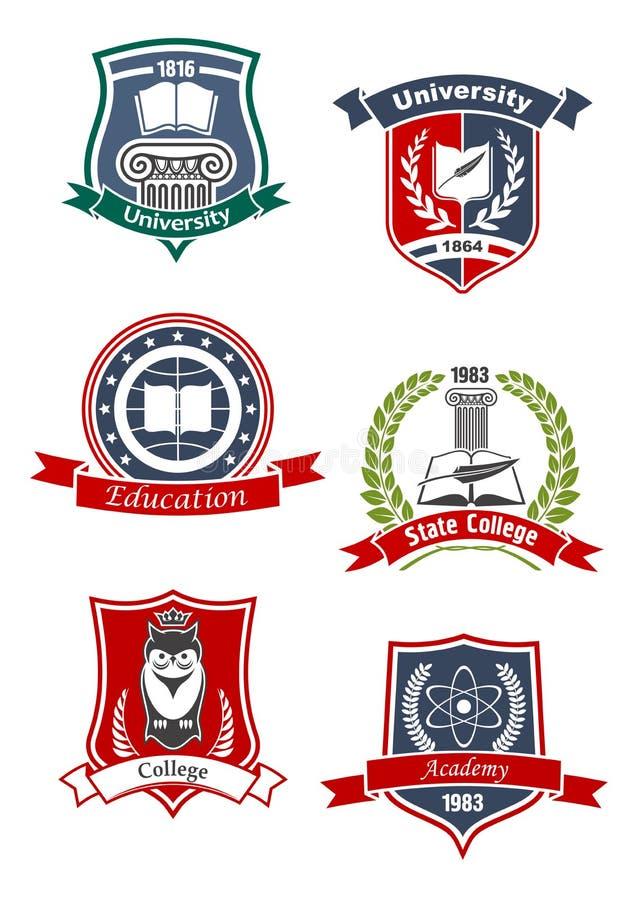 Academie, universiteits en hogeschool pictogrammen stock illustratie