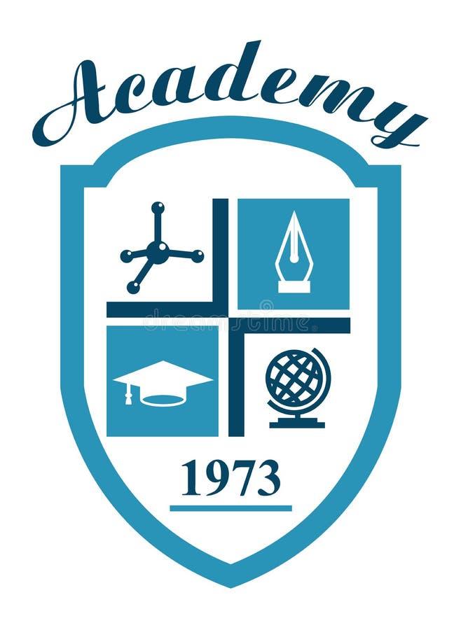 Academiesymbool met wetenschap stock illustratie