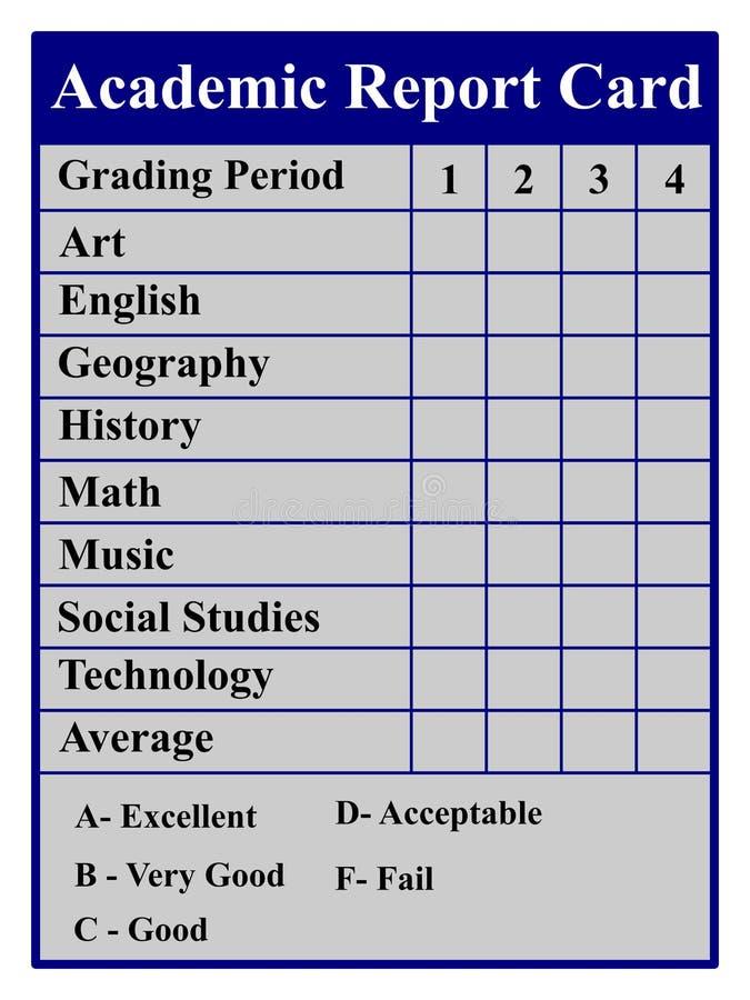 Academisch Schoolrapport royalty-vrije illustratie