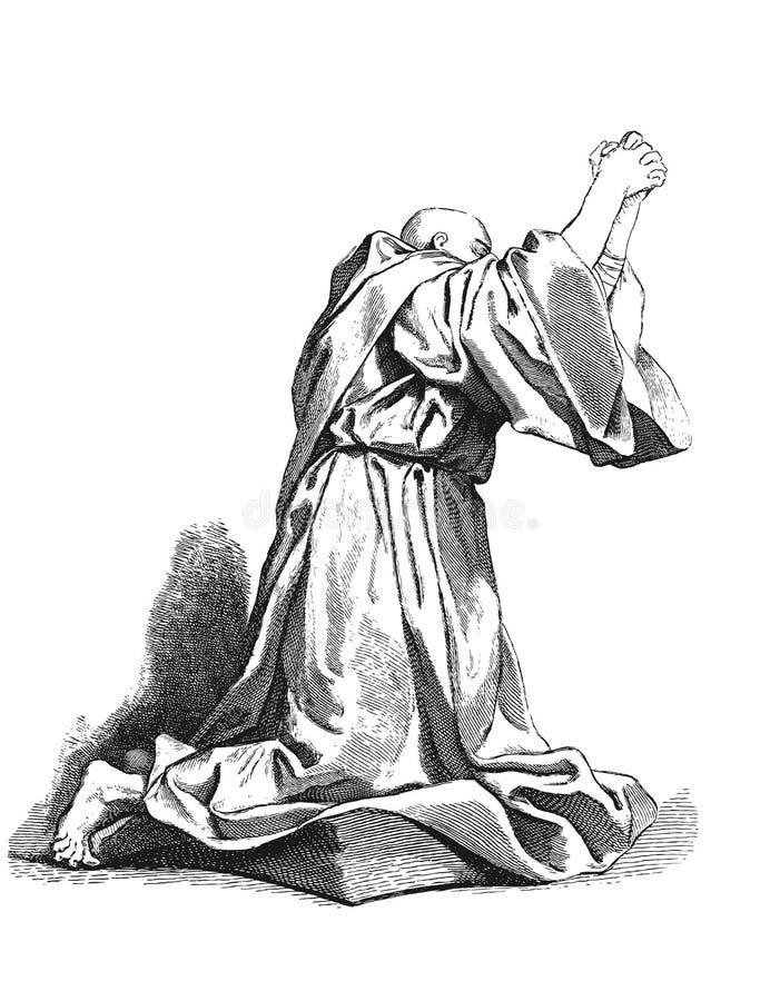 Academische tekening drapery Het Gebed stock illustratie