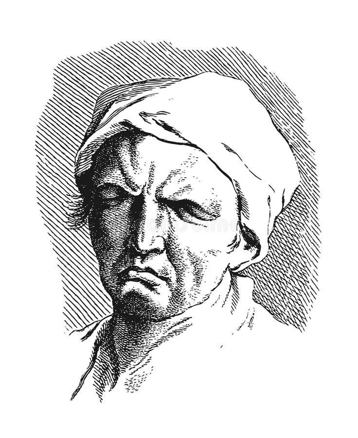 Academische tekening Nadenkende mens vector illustratie
