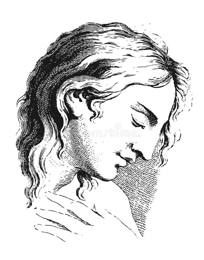 Academische tekening Portret van een jonge mens emoties vector illustratie