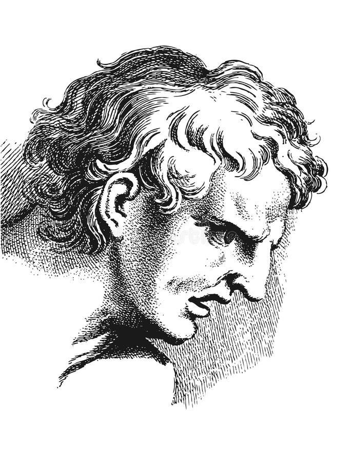 Academische tekening Verstoorde mens royalty-vrije illustratie