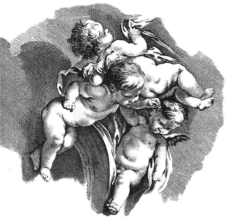 Academische tekening zuigelingen engelen vector illustratie