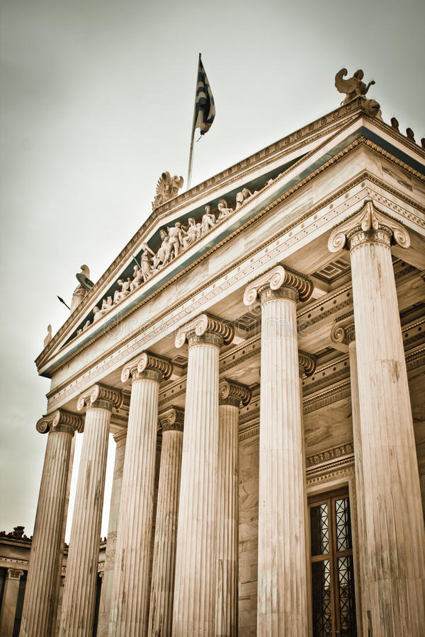 The Academy of Athens. Front view of the Academy of Athens in spring, Greece stock images