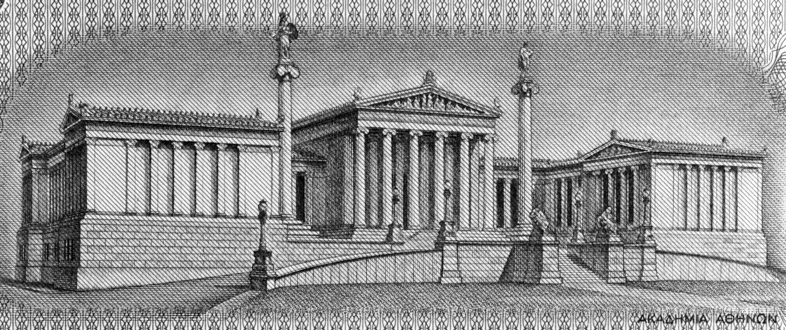 Academy of Athens. On 100 Drachmai 1967 banknote from Greece. It is the national academy of Greece, and the highest research establishment in the country. The royalty free stock images