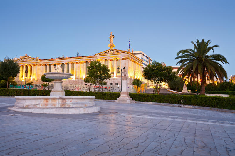 Academy of Athens. Building of the modern Academy of Athens, the highest research establishment of the country located in Panepistimio is one of the landmarks royalty free stock photos