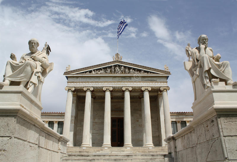 Academy of Athens, Greece. Neoclassical Academy of Athens in Greece showing main building and statues of ancient Greek philosopers Plato (left) and Socrates ( royalty free stock photo