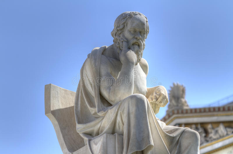 Academy of Athens ,Greece. Statue of Socrates in the Academy of Athens , Greece stock photography