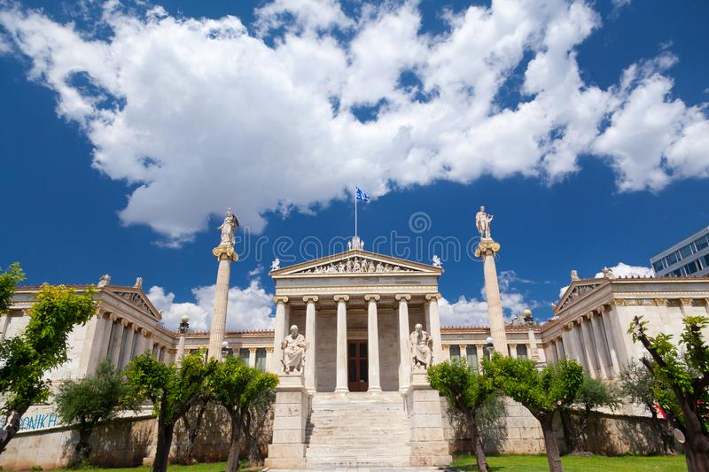 The Academy of Athens, Greece. The emblematic building of the Academy of Athens, in Greece, in part of the famous architectonic `Trilogy of Hansen`, as it is stock images