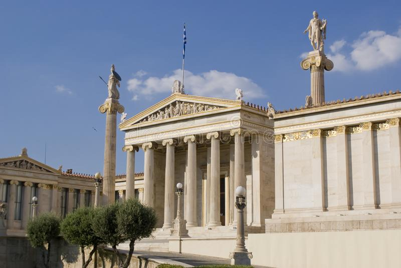 The Academy of Athens, Greece. Lateral view of the Academy of Athens stock image