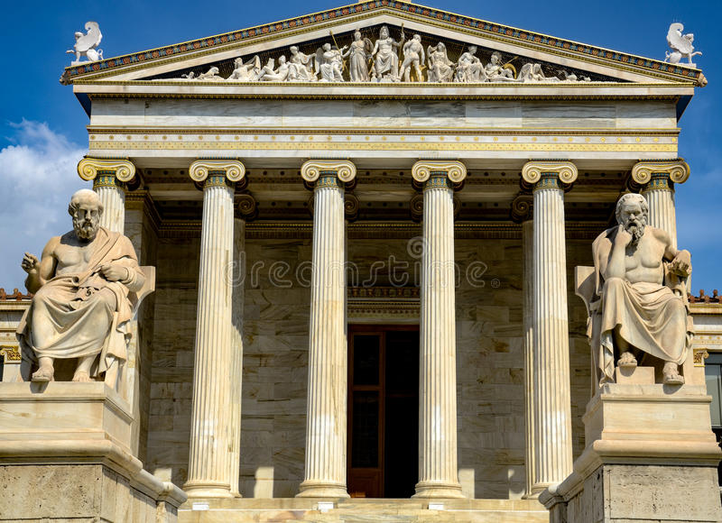 The Academy of Athens. Is Greece`s national academy, and the highest research establishment in the country. It was established in 1926, and operates under the stock images