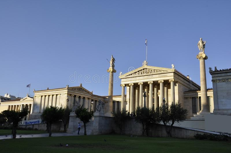 Academy of Athens Landmark at sunset in Greece royalty free stock photos