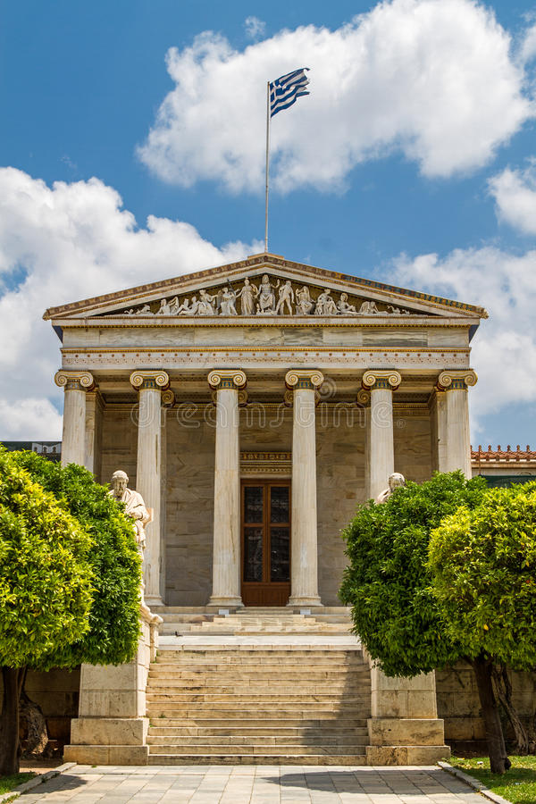 Academy of Athens. With Plato and Socrates monument stock photo