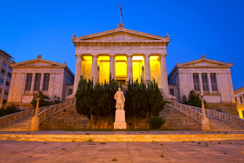 Academy of Athens. View of the Academy of Athens at night, Athens - Greece royalty free stock image