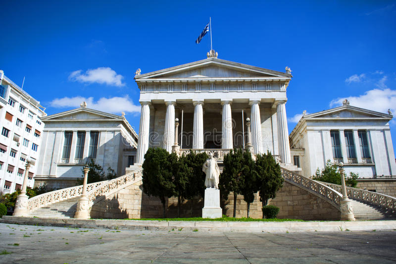Academy of Athens. View of the Academy of Athens under the blue sky, Athens - Greece royalty free stock images