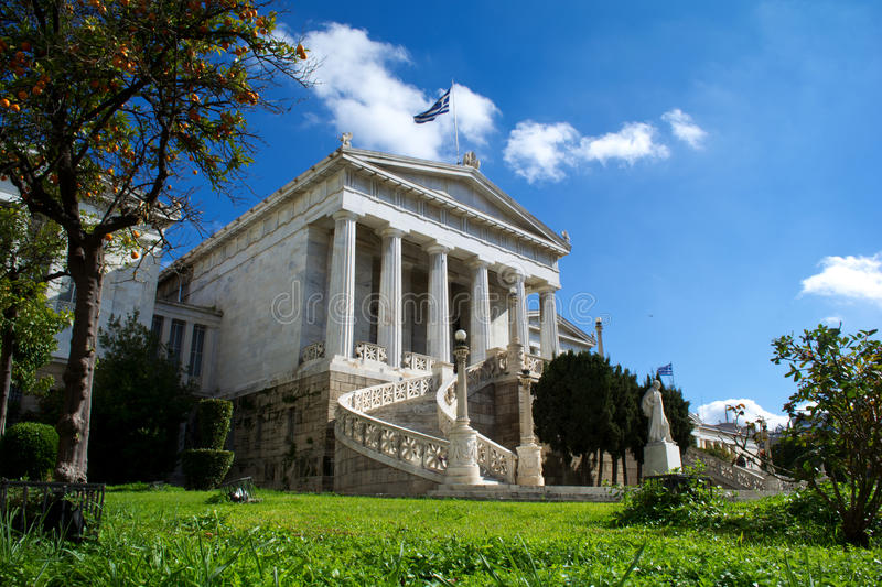Academy of Athens. View of the Academy of Athens under the blue sky, Athens - Greece stock photography
