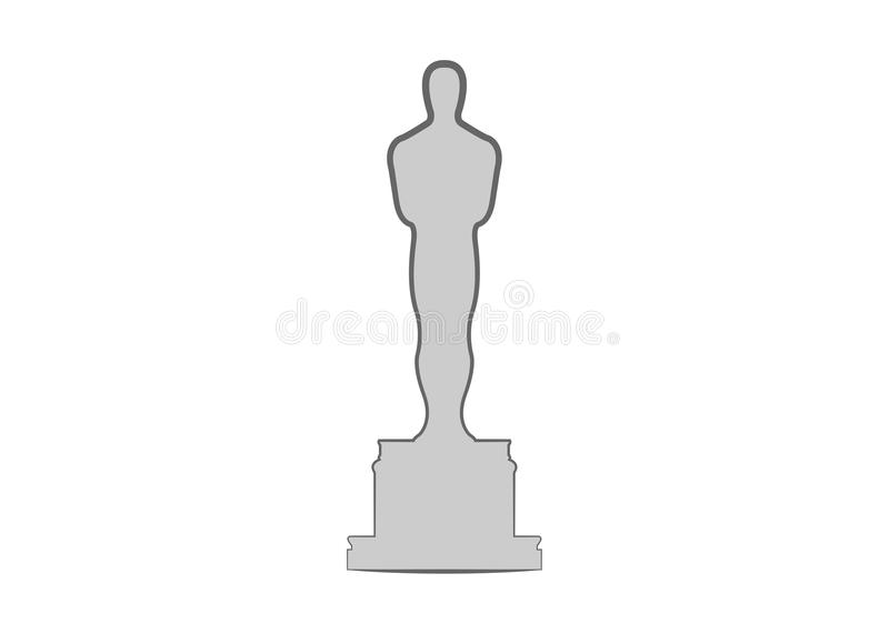 Academy award icon in flat style isolated. Silhouette statue icon. Films and cinema symbol stock illustration. vector illustration