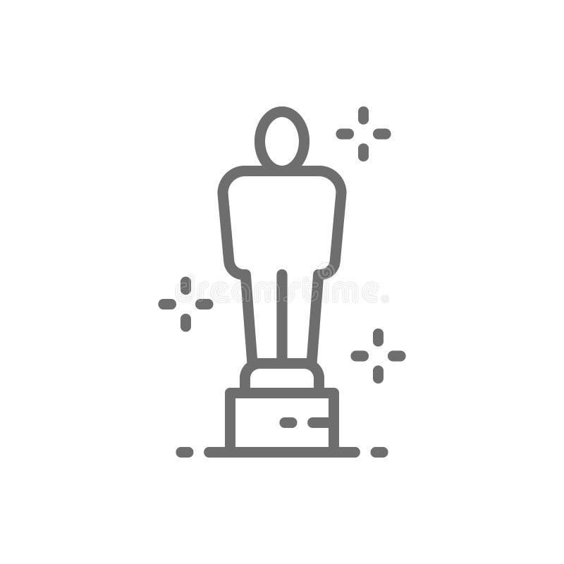 Academy award, oscar, prize, trophy line icon. stock illustration