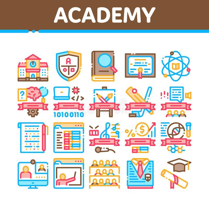 Academy Educational Collection Icons Set Vector 皇族释放例证