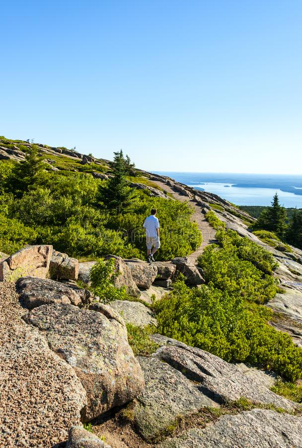 Acadia National Park. Is Atlantic coast recreation area. Its landscape is marked by woodland, rocky beaches and glacier-scoured granite peaks such as Cadillac royalty free stock photo
